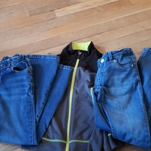 2 pair Jean's and 1 zip up size 7 girls